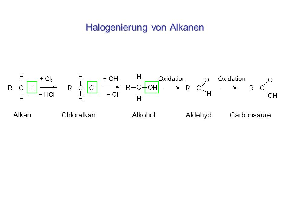 Halogenierung von Alkanen + Cl 2 + OH Oxidation Oxidation – HCl – Cl Alkan Chloralkan Alkohol Aldehyd Carbonsäure
