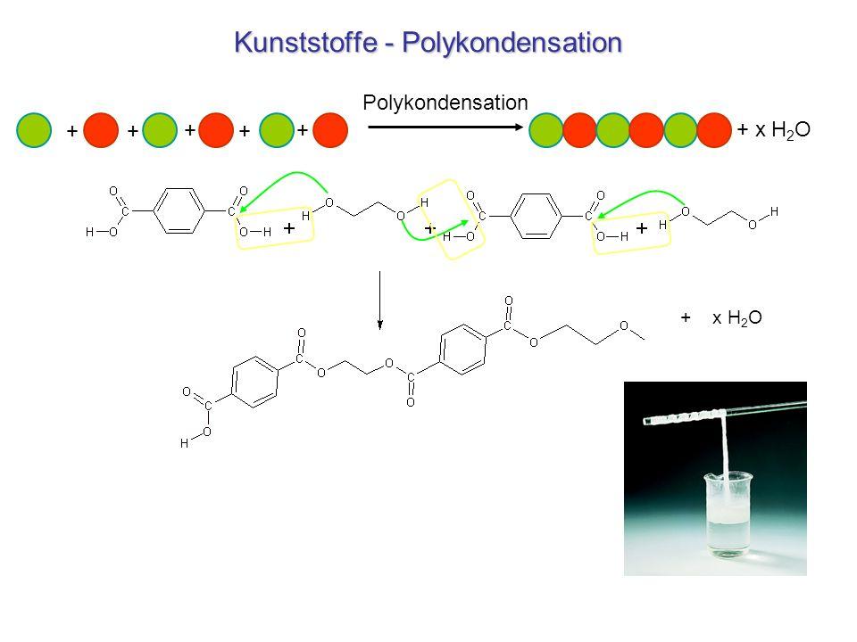 Kunststoffe - Polykondensation + x H 2 O ++ + + + Polykondensation + x H 2 O