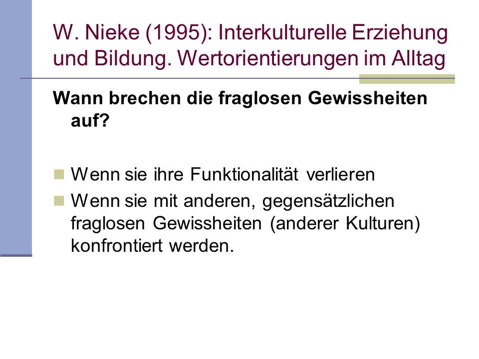 W. Nieke (1995): Interkulturelle Erziehung und Bildung. Wertorientierungen im Alltag Wann brechen die fraglosen Gewissheiten auf? Wenn sie ihre Funkti