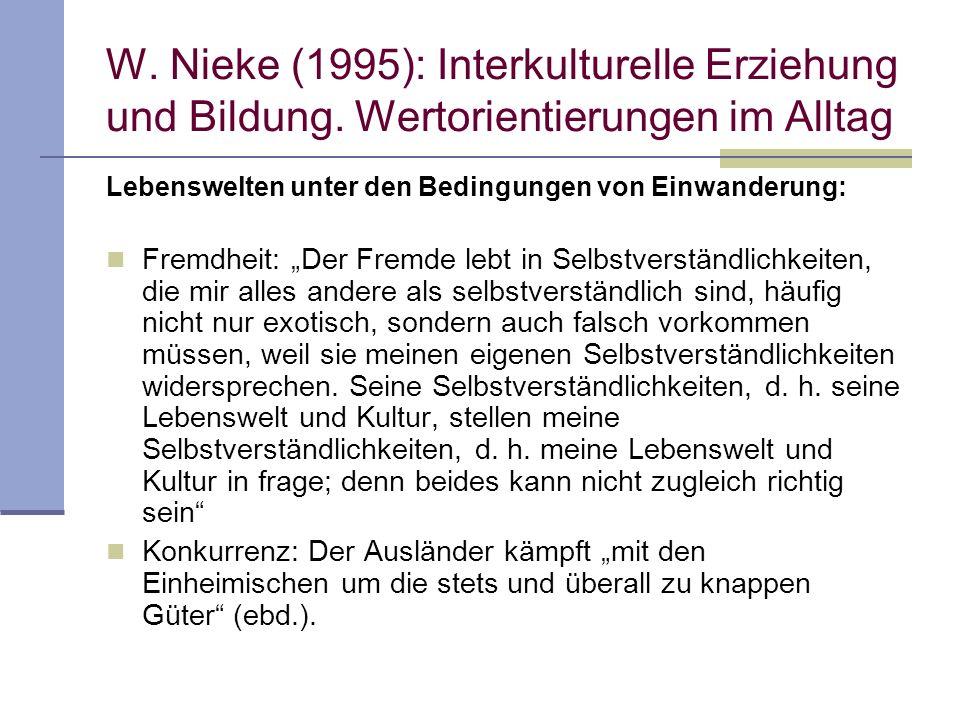 W. Nieke (1995): Interkulturelle Erziehung und Bildung. Wertorientierungen im Alltag Lebenswelten unter den Bedingungen von Einwanderung: Fremdheit: D