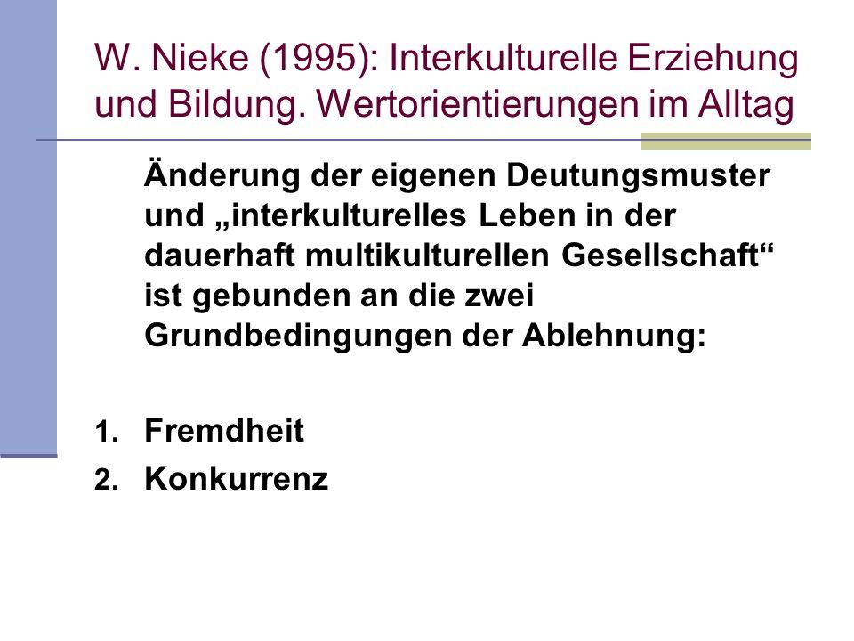 W. Nieke (1995): Interkulturelle Erziehung und Bildung. Wertorientierungen im Alltag Änderung der eigenen Deutungsmuster und interkulturelles Leben in