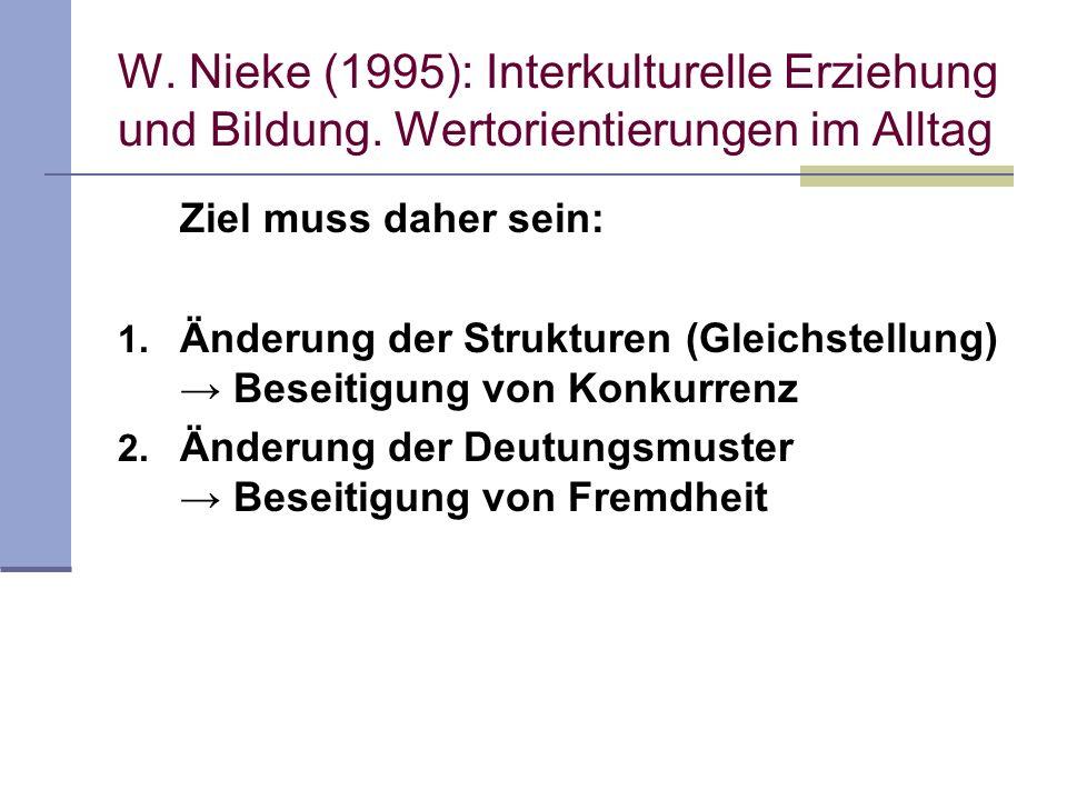 W. Nieke (1995): Interkulturelle Erziehung und Bildung. Wertorientierungen im Alltag Ziel muss daher sein: 1. Änderung der Strukturen (Gleichstellung)