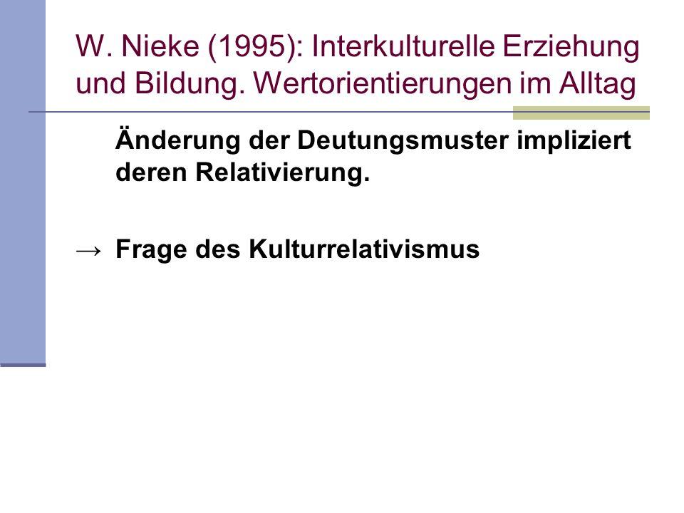 W. Nieke (1995): Interkulturelle Erziehung und Bildung. Wertorientierungen im Alltag Änderung der Deutungsmuster impliziert deren Relativierung. Frage