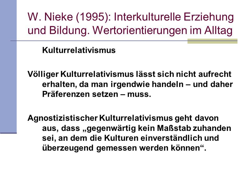 W. Nieke (1995): Interkulturelle Erziehung und Bildung. Wertorientierungen im Alltag Kulturrelativismus Völliger Kulturrelativismus lässt sich nicht a