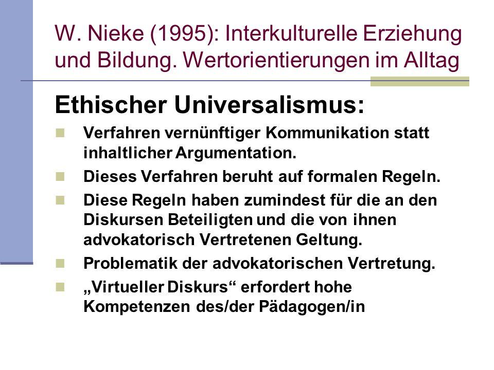 W. Nieke (1995): Interkulturelle Erziehung und Bildung. Wertorientierungen im Alltag Ethischer Universalismus: Verfahren vernünftiger Kommunikation st