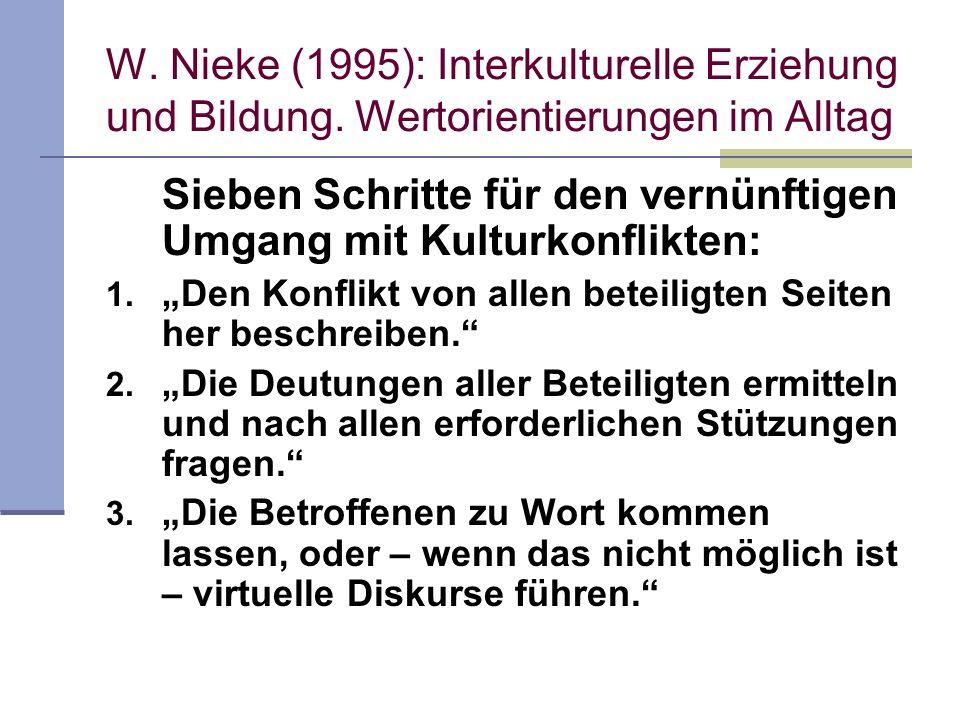 W. Nieke (1995): Interkulturelle Erziehung und Bildung. Wertorientierungen im Alltag Sieben Schritte für den vernünftigen Umgang mit Kulturkonflikten: