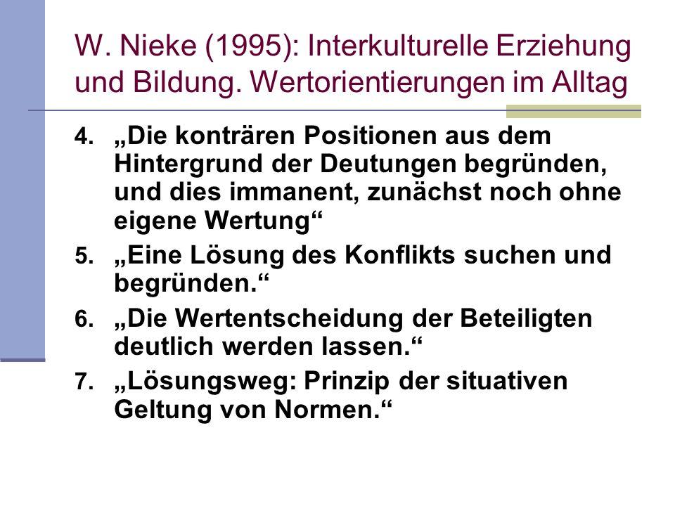 W. Nieke (1995): Interkulturelle Erziehung und Bildung. Wertorientierungen im Alltag 4. Die konträren Positionen aus dem Hintergrund der Deutungen beg