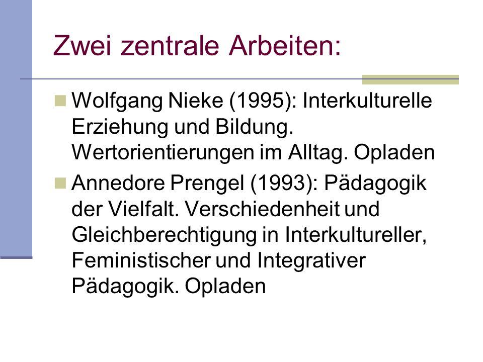 Zwei zentrale Arbeiten: Wolfgang Nieke (1995): Interkulturelle Erziehung und Bildung. Wertorientierungen im Alltag. Opladen Annedore Prengel (1993): P