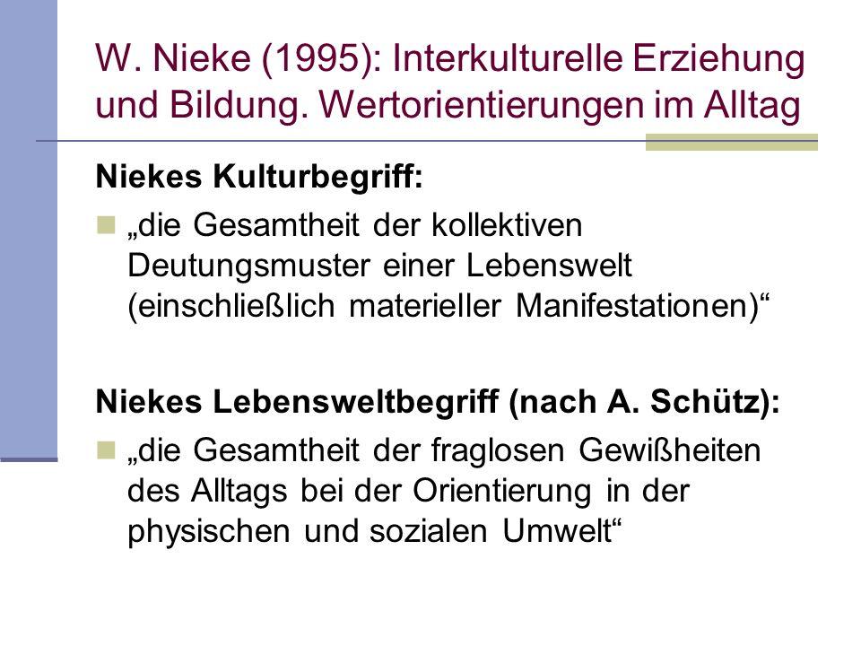 W. Nieke (1995): Interkulturelle Erziehung und Bildung. Wertorientierungen im Alltag Niekes Kulturbegriff: die Gesamtheit der kollektiven Deutungsmust