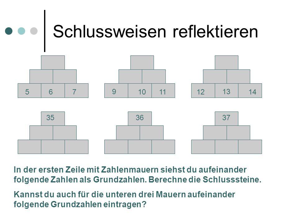 Schlussweisen reflektieren 56710 139 111214 353637 In der ersten Zeile mit Zahlenmauern siehst du aufeinander folgende Zahlen als Grundzahlen. Berechn