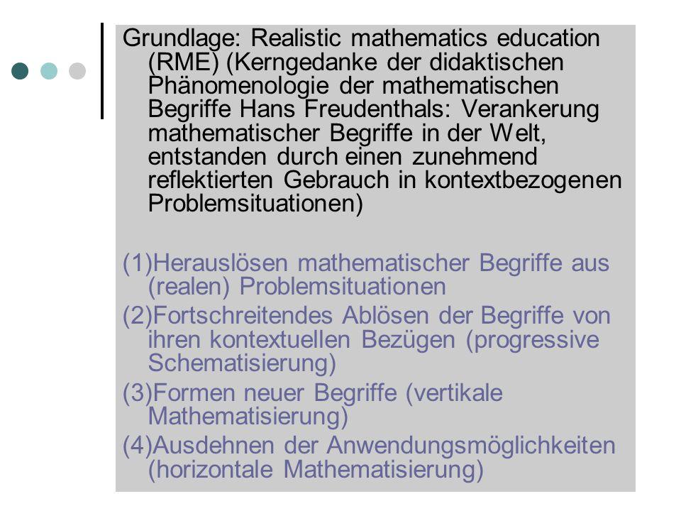 Grundlage: Realistic mathematics education (RME) (Kerngedanke der didaktischen Phänomenologie der mathematischen Begriffe Hans Freudenthals: Verankeru