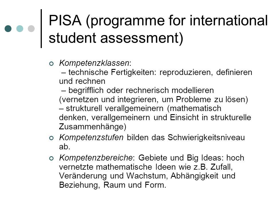 PISA (programme for international student assessment) Kompetenzklassen: – technische Fertigkeiten: reproduzieren, definieren und rechnen – begrifflich