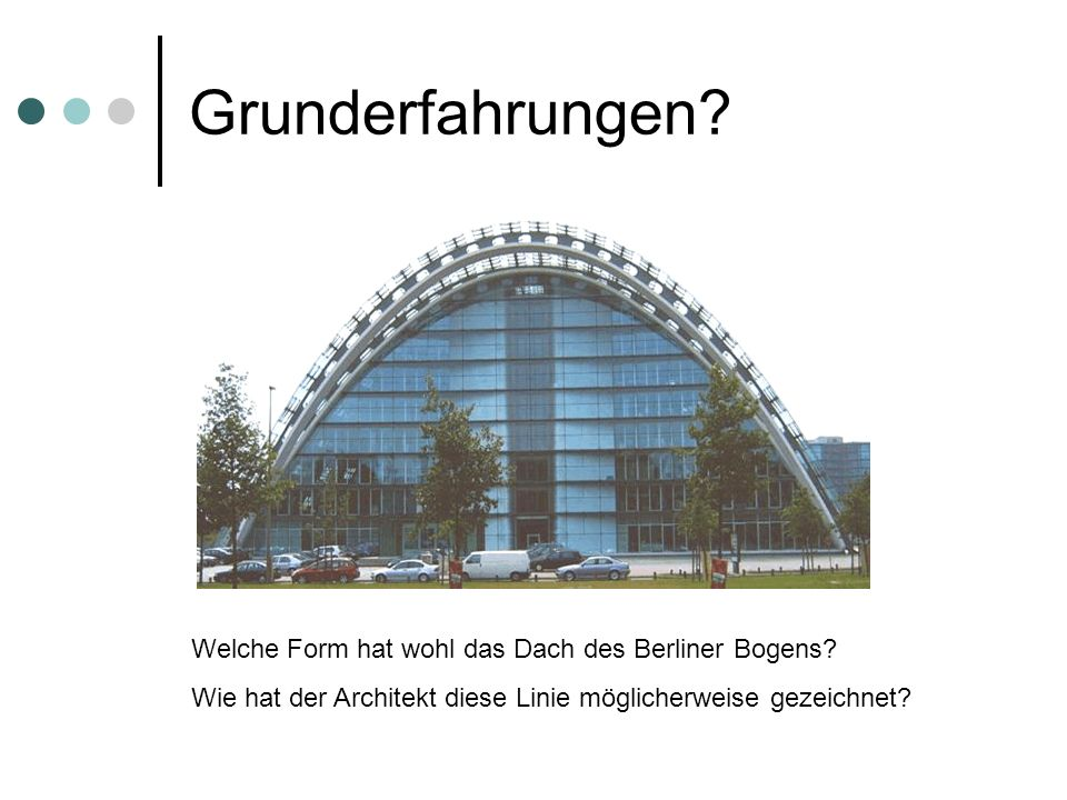 Grunderfahrungen? Welche Form hat wohl das Dach des Berliner Bogens? Wie hat der Architekt diese Linie möglicherweise gezeichnet?