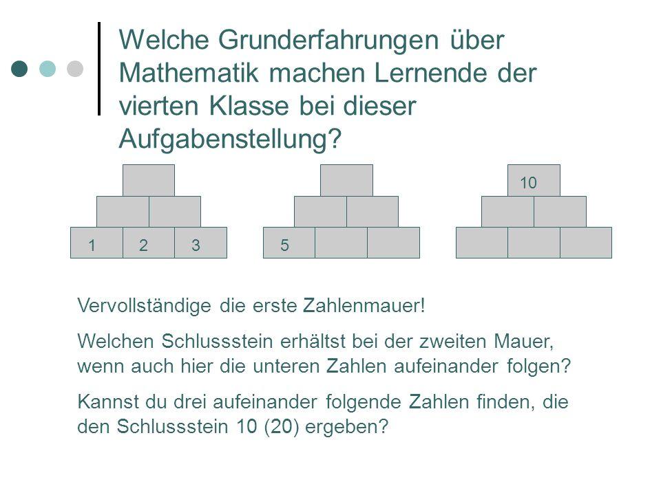 1235 10 Vervollständige die erste Zahlenmauer! Welchen Schlussstein erhältst bei der zweiten Mauer, wenn auch hier die unteren Zahlen aufeinander folg