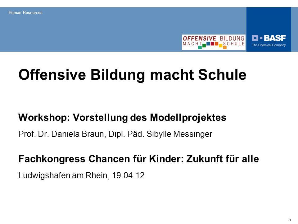 Human Resources 1 Offensive Bildung macht Schule Workshop: Vorstellung des Modellprojektes Prof. Dr. Daniela Braun, Dipl. Päd. Sibylle Messinger Fachk