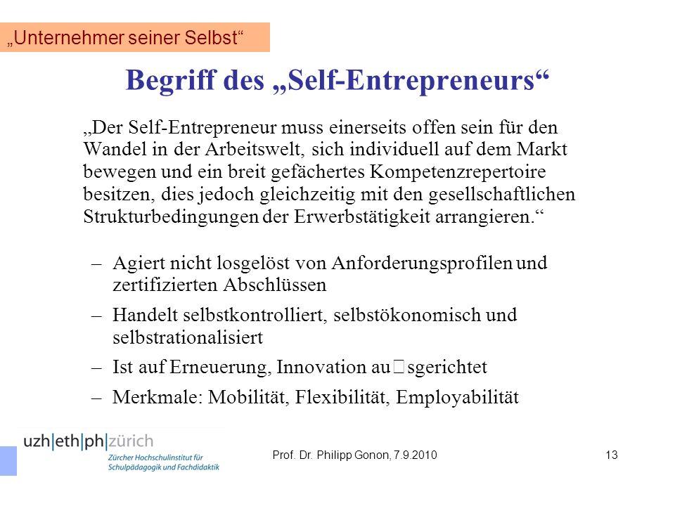 Begriff des Self-Entrepreneurs Der Self-Entrepreneur muss einerseits offen sein für den Wandel in der Arbeitswelt, sich individuell auf dem Markt bewe
