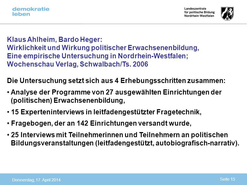 Klaus Ahlheim, Bardo Heger: Wirklichkeit und Wirkung politischer Erwachsenenbildung, Eine empirische Untersuchung in Nordrhein-Westfalen; Wochenschau