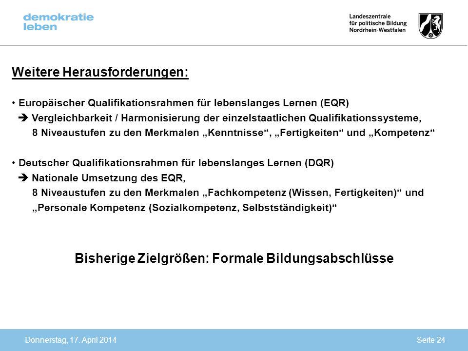 Donnerstag, 17. April 2014 Weitere Herausforderungen: Europäischer Qualifikationsrahmen für lebenslanges Lernen (EQR) Vergleichbarkeit / Harmonisierun