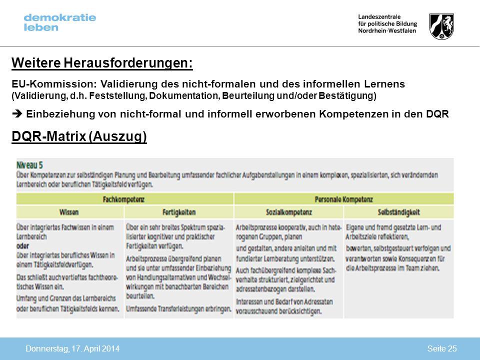 Donnerstag, 17. April 2014 Weitere Herausforderungen: EU-Kommission: Validierung des nicht-formalen und des informellen Lernens (Validierung, d.h. Fes