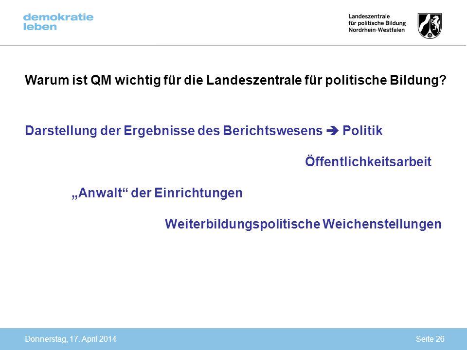Donnerstag, 17. April 2014 Warum ist QM wichtig für die Landeszentrale für politische Bildung? Darstellung der Ergebnisse des Berichtswesens Politik Ö