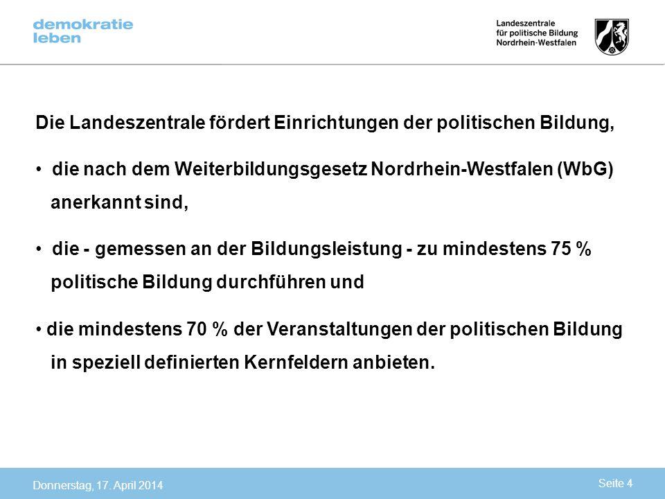 Die Landeszentrale fördert Einrichtungen der politischen Bildung, die nach dem Weiterbildungsgesetz Nordrhein-Westfalen (WbG) anerkannt sind, die - ge