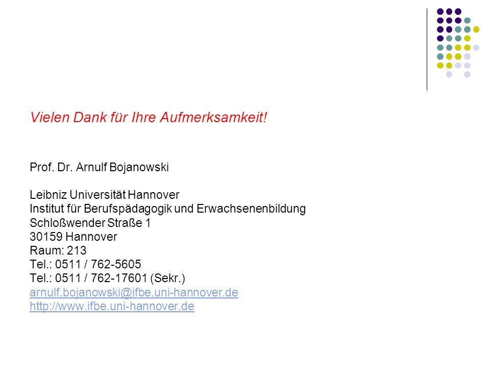 Vielen Dank für Ihre Aufmerksamkeit! Prof. Dr. Arnulf Bojanowski Leibniz Universität Hannover Institut für Berufspädagogik und Erwachsenenbildung Schl