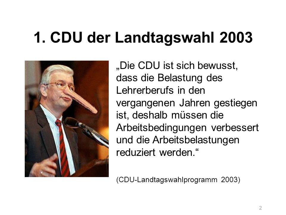 2 1. CDU der Landtagswahl 2003 Die CDU ist sich bewusst, dass die Belastung des Lehrerberufs in den vergangenen Jahren gestiegen ist, deshalb müssen d