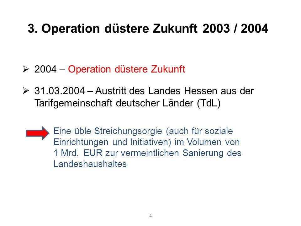 4 3. Operation düstere Zukunft 2003 / 2004 2004 – Operation düstere Zukunft 31.03.2004 – Austritt des Landes Hessen aus der Tarifgemeinschaft deutsche