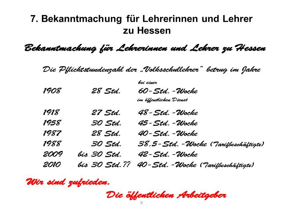 7. Bekanntmachung für Lehrerinnen und Lehrer zu Hessen 8