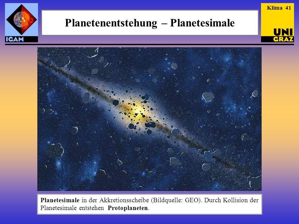 Planetenentstehung – Planetesimale Planetesimale in der Akkretionsscheibe (Bildquelle: GEO). Durch Kollision der Planetesimale entstehen Protoplaneten