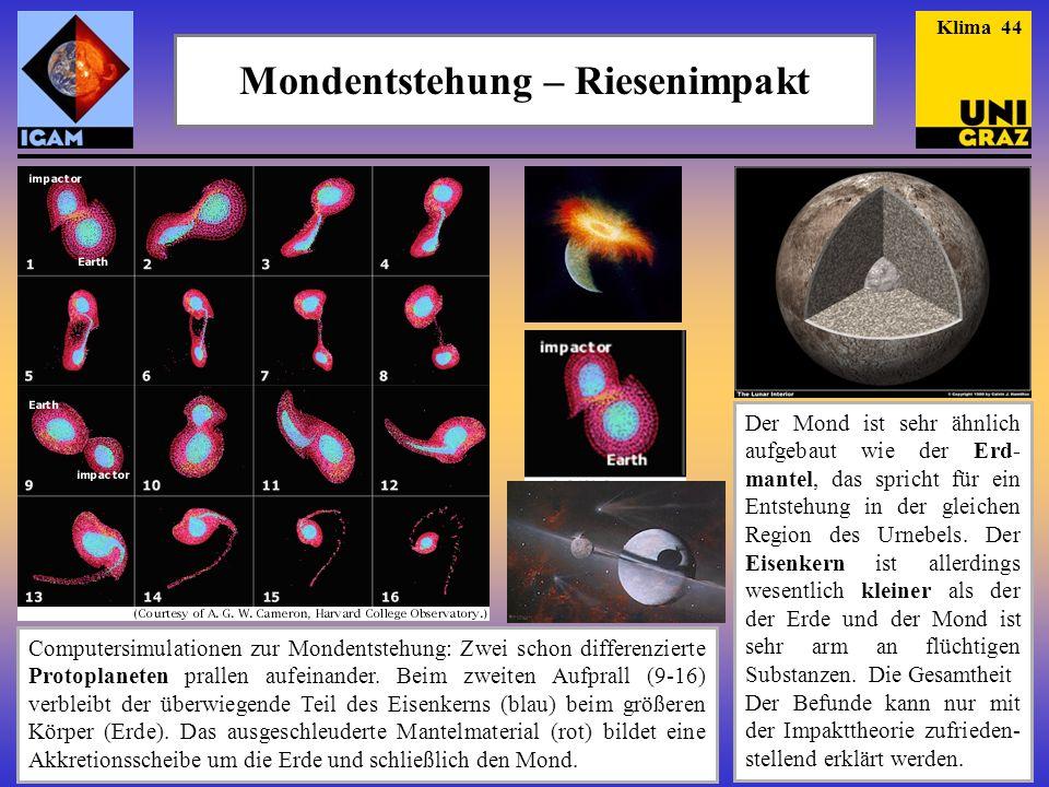 Mondentstehung – Riesenimpakt Computersimulationen zur Mondentstehung: Zwei schon differenzierte Protoplaneten prallen aufeinander. Beim zweiten Aufpr