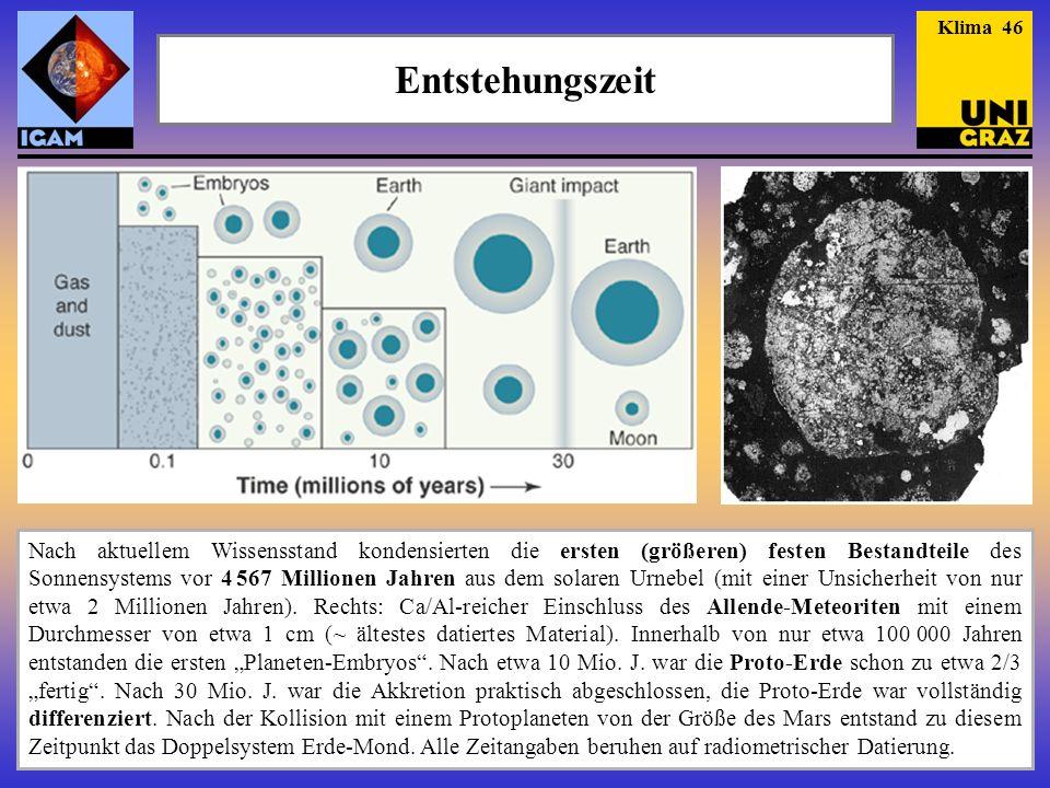 Entstehungszeit Nach aktuellem Wissensstand kondensierten die ersten (größeren) festen Bestandteile des Sonnensystems vor 4 567 Millionen Jahren aus d