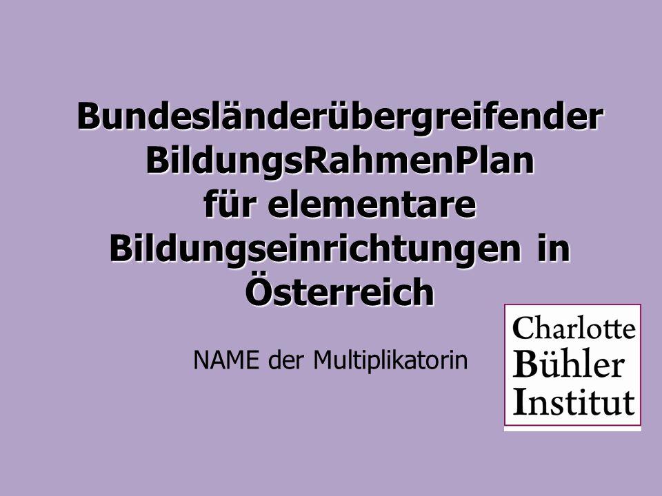 Bundesländerübergreifender BildungsRahmenPlan für elementare Bildungseinrichtungen in Österreich NAME der Multiplikatorin