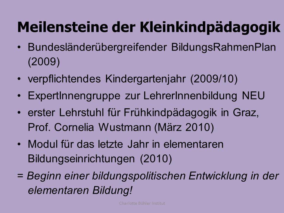 Meilensteine der Kleinkindpädagogik Bundesländerübergreifender BildungsRahmenPlan (2009) verpflichtendes Kindergartenjahr (2009/10) ExpertInnengruppe