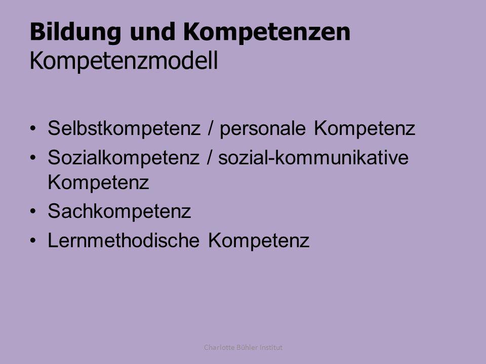Bildung und Kompetenzen Kompetenzmodell Selbstkompetenz / personale Kompetenz Sozialkompetenz / sozial-kommunikative Kompetenz Sachkompetenz Lernmetho
