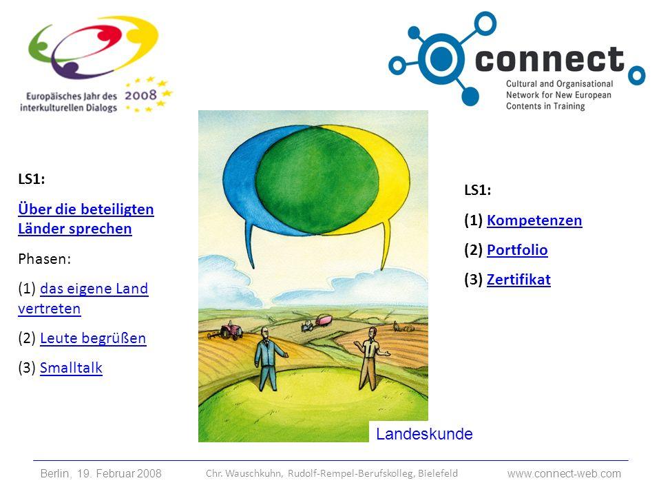 Landeskunde LS1: Über die beteiligten Länder sprechen Phasen: (1) das eigene Land vertretendas eigene Land vertreten (2) Leute begrüßenLeute begrüßen