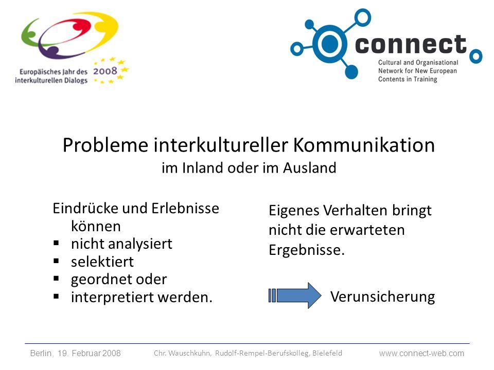 Probleme interkultureller Kommunikation im Inland oder im Ausland Eigenes Verhalten bringt nicht die erwarteten Ergebnisse. Verunsicherung Eindrücke u