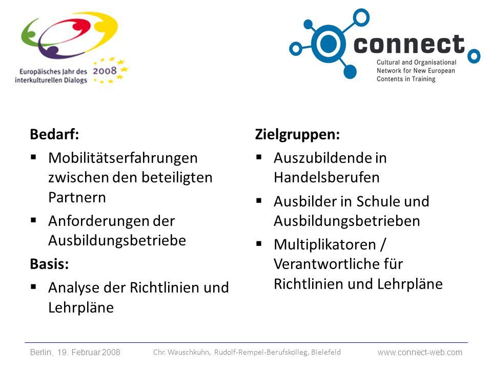 Partner: 7 Länder (AT, CZ, DE, FI, HU, PL, UK) 5 Berufskollegs 2 Hochschulen (DE, FI) 4 Ausbildungsbetriebe Berlin, 19.