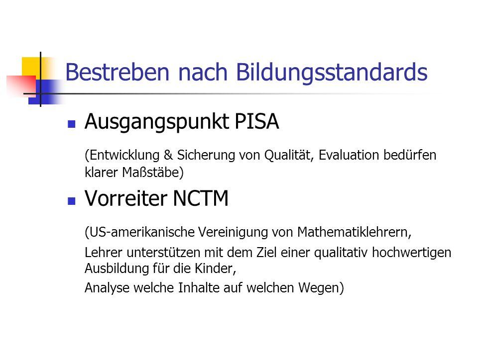 Bestreben nach Bildungsstandards Ausgangspunkt PISA (Entwicklung & Sicherung von Qualität, Evaluation bedürfen klarer Maßstäbe) Vorreiter NCTM (US-ame