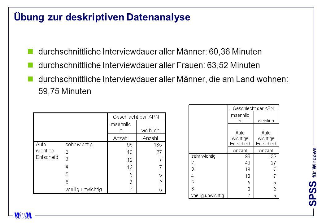 SPSS für Windows Übung zur deskriptiven Datenanalyse ndurchschnittliche Interviewdauer aller Männer: 60,36 Minuten ndurchschnittliche Interviewdauer aller Frauen: 63,52 Minuten ndurchschnittliche Interviewdauer aller Männer, die am Land wohnen: 59,75 Minuten
