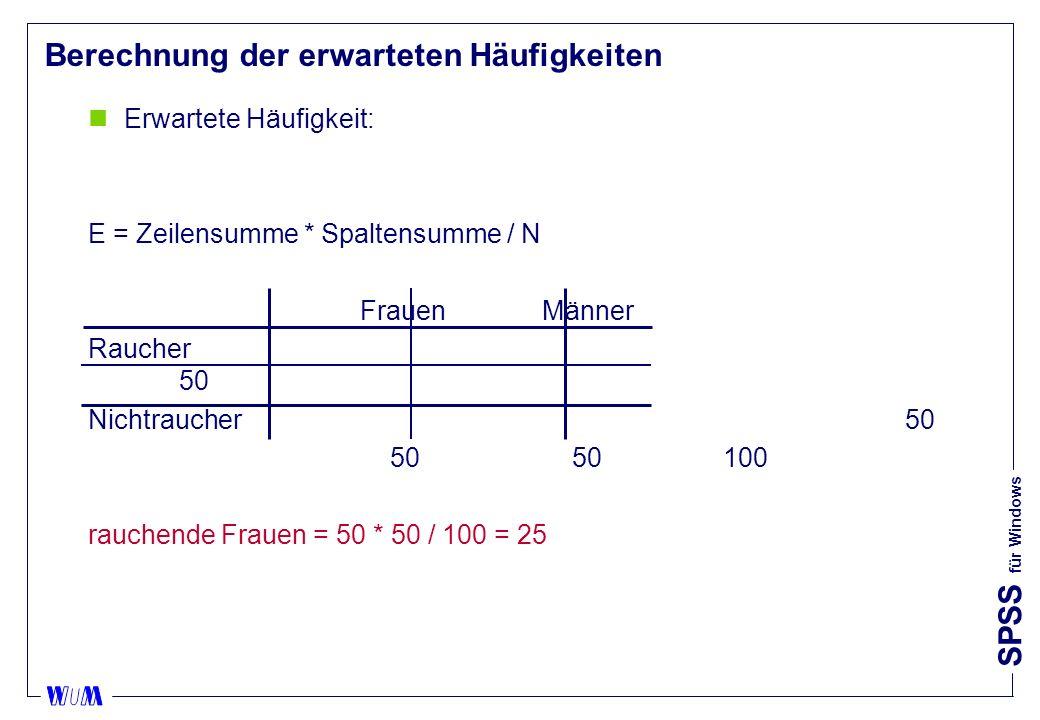 SPSS für Windows Berechnung der erwarteten Häufigkeiten nErwartete Häufigkeit: E = Zeilensumme * Spaltensumme / N FrauenMänner Raucher 50 Nichtraucher50 50 50100 rauchende Frauen = 50 * 50 / 100 = 25