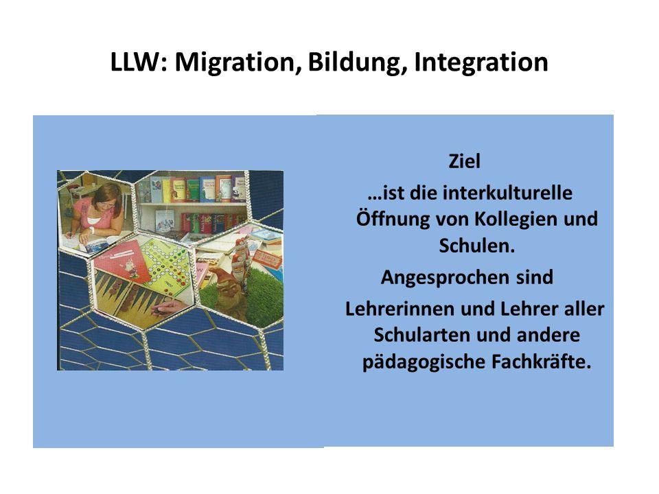 LLW: Migration, Bildung, Integration Ziel …ist die interkulturelle Öffnung von Kollegien und Schulen. Angesprochen sind Lehrerinnen und Lehrer aller S