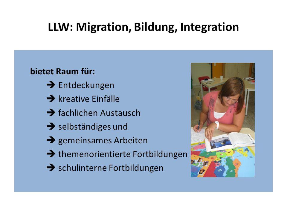 LLW: Migration, Bildung, Integration bietet Raum für: Entdeckungen kreative Einfälle fachlichen Austausch selbständiges und gemeinsames Arbeiten theme
