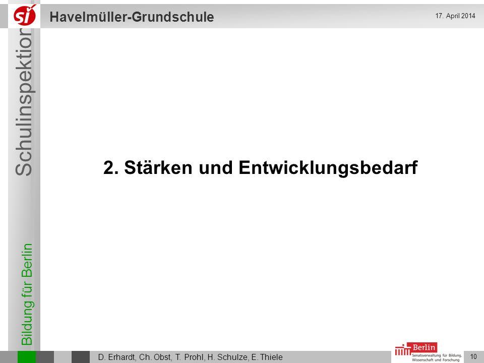 Bildung für Berlin Schulinspektion Havelmüller-Grundschule D. Erhardt, Ch. Obst, T. Prohl, H. Schulze, E. Thiele 10 17. April 2014 2. Stärken und Entw