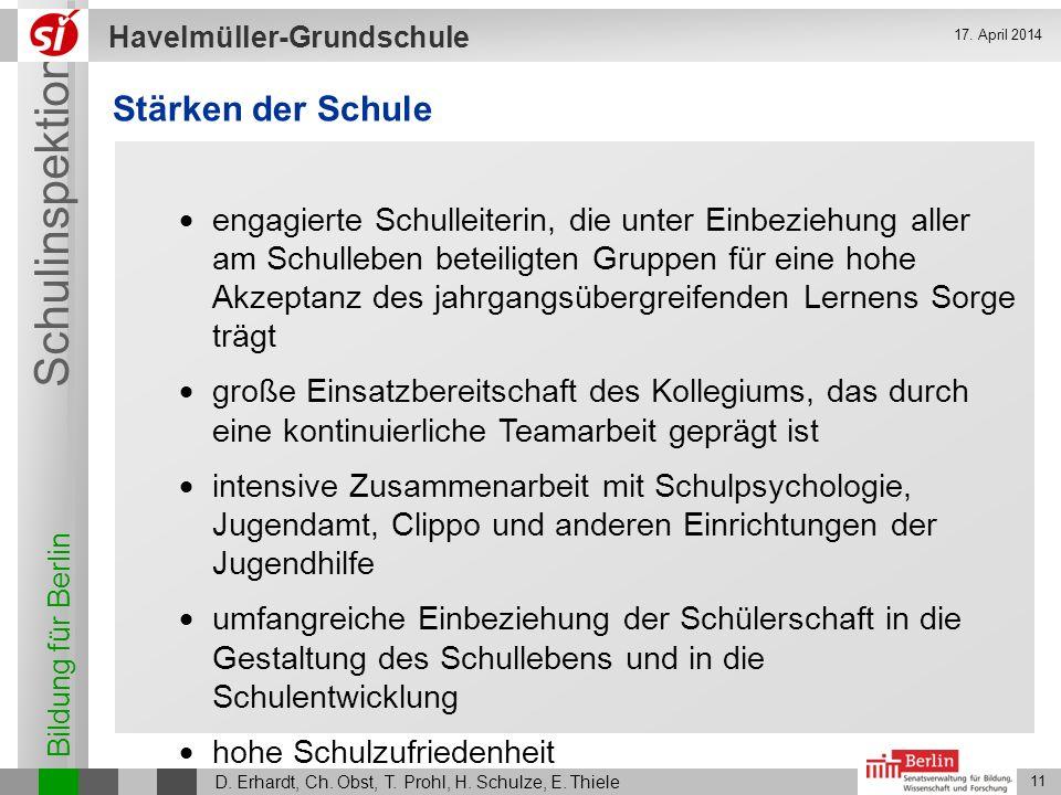 Bildung für Berlin Schulinspektion Havelmüller-Grundschule D. Erhardt, Ch. Obst, T. Prohl, H. Schulze, E. Thiele 11 17. April 2014 Stärken der Schule