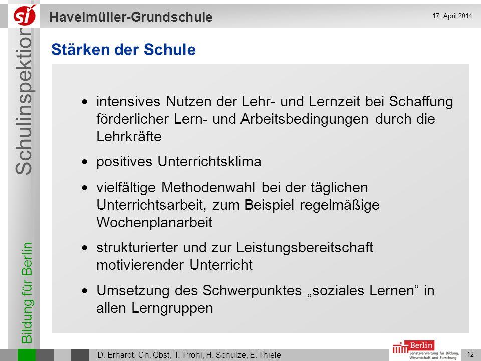 Bildung für Berlin Schulinspektion Havelmüller-Grundschule D. Erhardt, Ch. Obst, T. Prohl, H. Schulze, E. Thiele 12 17. April 2014 Stärken der Schule