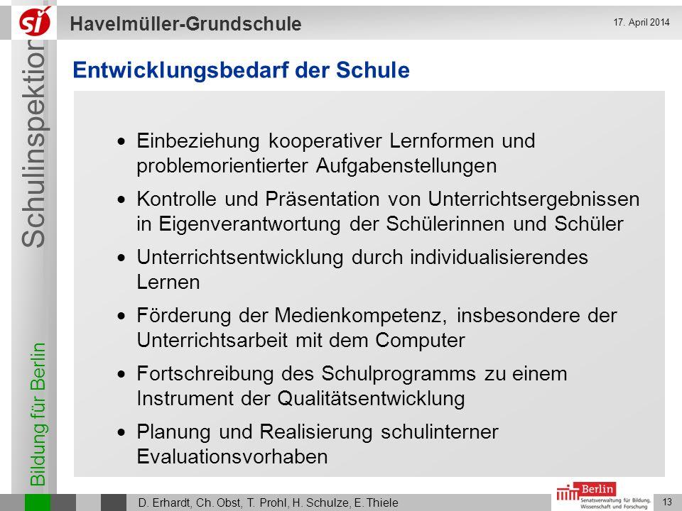 Bildung für Berlin Schulinspektion Havelmüller-Grundschule D. Erhardt, Ch. Obst, T. Prohl, H. Schulze, E. Thiele 13 17. April 2014 Entwicklungsbedarf