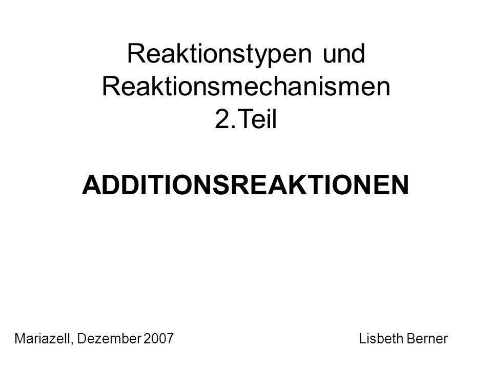 2.1.3 Katalytische Hydrierung Freie H-Radikale treten nicht auf: H 2 wird an der Metalloberfläche (Katalysatoren, Ni, Pt, Pd, Rh) adsorbiert, dadurch wird die H-H- Bindung geschwächt, wenn nicht sogar gebrochen; Alken koordiniert über die π-Bindung mit der Oberfläche des Katalysators; während der Reaktion werden die reagierenden Teilchen wie auf einem Art Träger festgehalten.
