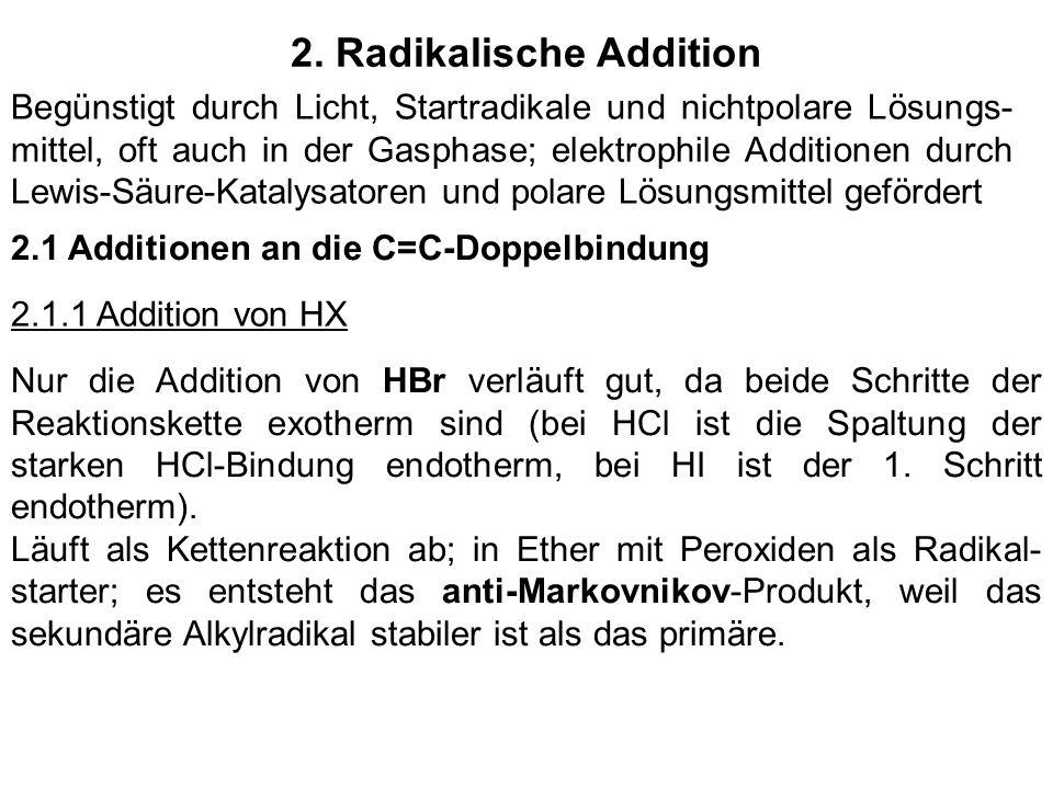 2. Radikalische Addition Begünstigt durch Licht, Startradikale und nichtpolare Lösungs- mittel, oft auch in der Gasphase; elektrophile Additionen durc