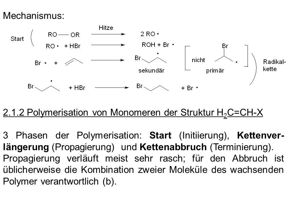 Mechanismus: 2.1.2 Polymerisation von Monomeren der Struktur H 2 C=CH-X 3 Phasen der Polymerisation: Start (Initiierung), Kettenver- längerung (Propag